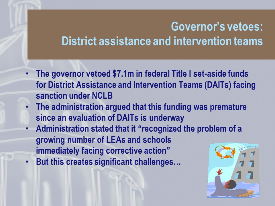 Governors vetoes: District assistance and intervention teams The governor vetoed $7.1m in federal Title I set-aside funds for District Assistance and Intervention Teams (DAITs) facing sanction under NCLB The administration argued that this funding was premature since an evaluation of DAITs is underway Administration stated that it recognized the problem of a growing number of LEAs and schools immediately facing corrective action But this creates significant challenges…