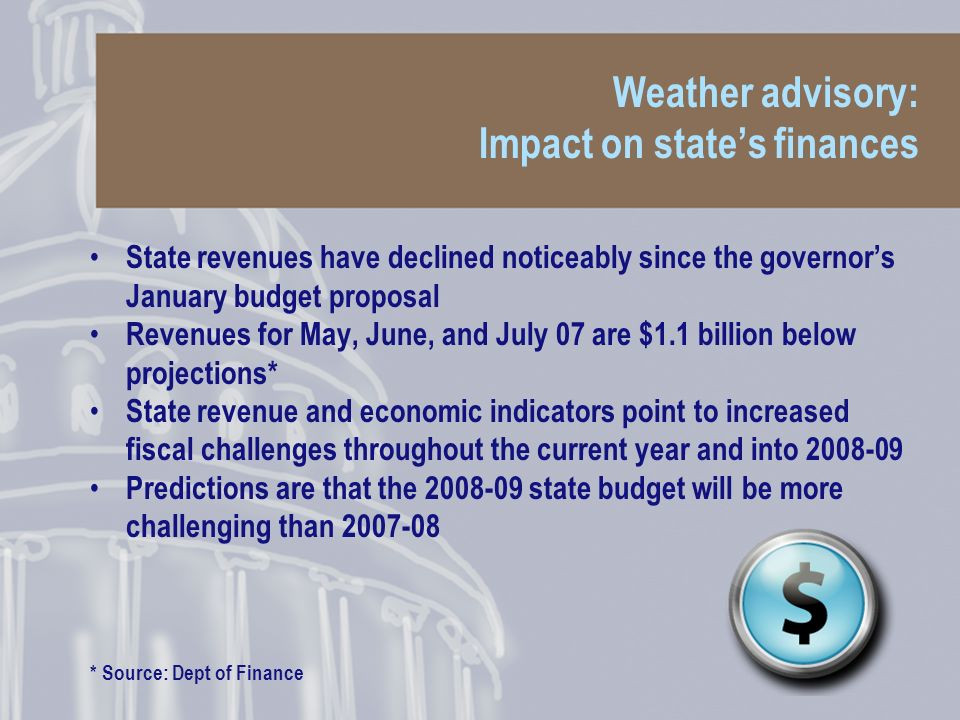Weather advisory: Impact on states finances State revenues have declined noticeably since the governors January budget proposal Revenues for May, June, and July 07 are $1.1 billion below projections* State revenue and economic indicators point to increased fiscal challenges throughout the current year and into 2008-09 Predictions are that the 2008-09 state budget will be more challenging than 2007-08 * Source: Dept of Finance