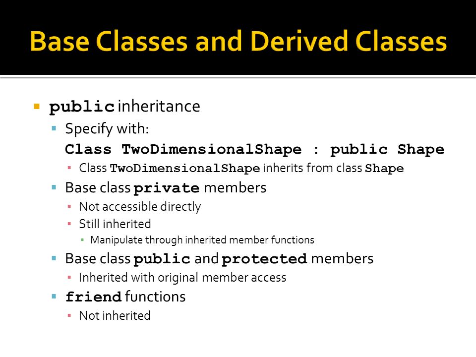 public inheritance Specify with: Class TwoDimensionalShape : public Shape Class TwoDimensionalShape inherits from class Shape Base class private members Not accessible directly Still inherited Manipulate through inherited member functions Base class public and protected members Inherited with original member access friend functions Not inherited