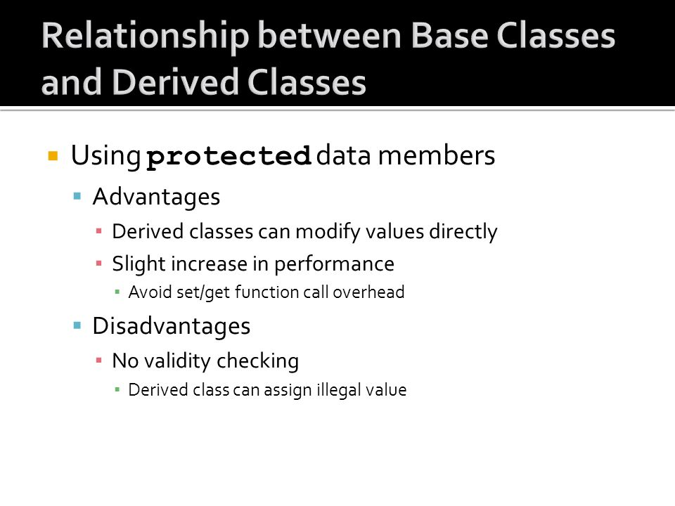Using protected data members Advantages Derived classes can modify values directly Slight increase in performance Avoid set/get function call overhead Disadvantages No validity checking Derived class can assign illegal value
