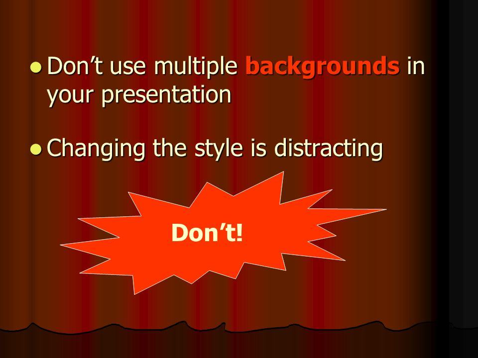 Background Use the Same Background on Each Slide Do !!