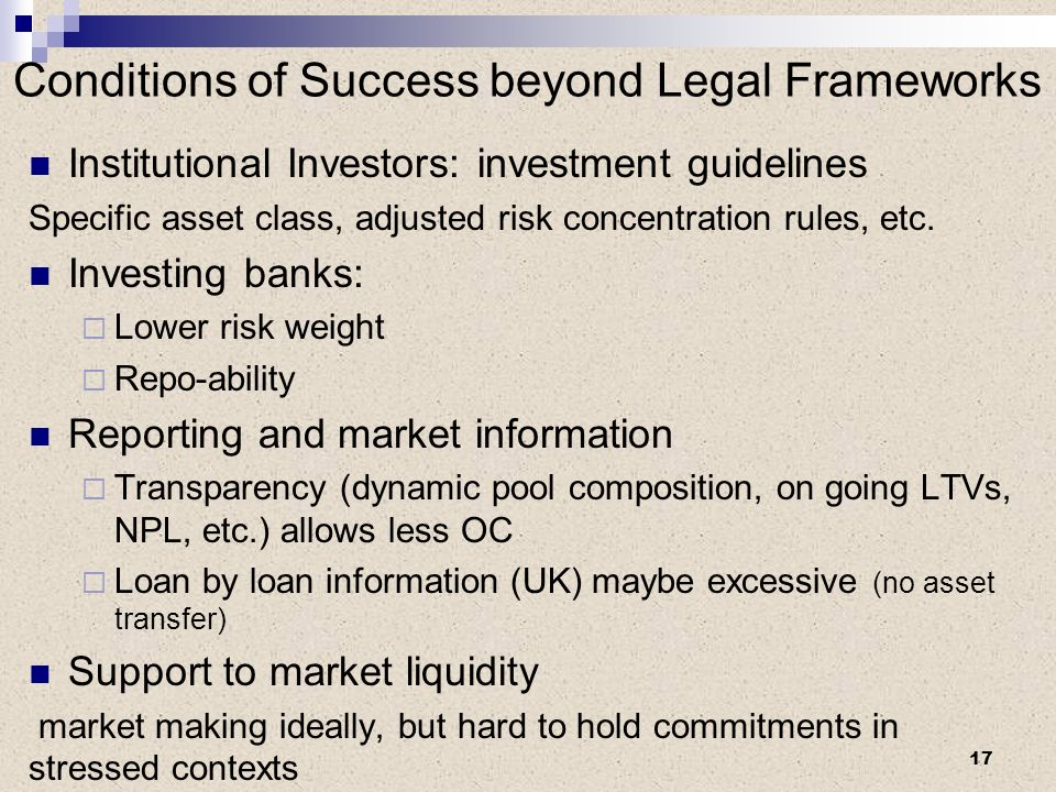 Conditions of Success beyond Legal Frameworks Institutional Investors: investment guidelines Specific asset class, adjusted risk concentration rules, etc.