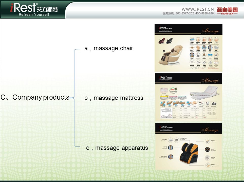 4 C Company products a massage chair b massage mattress c massage apparatus