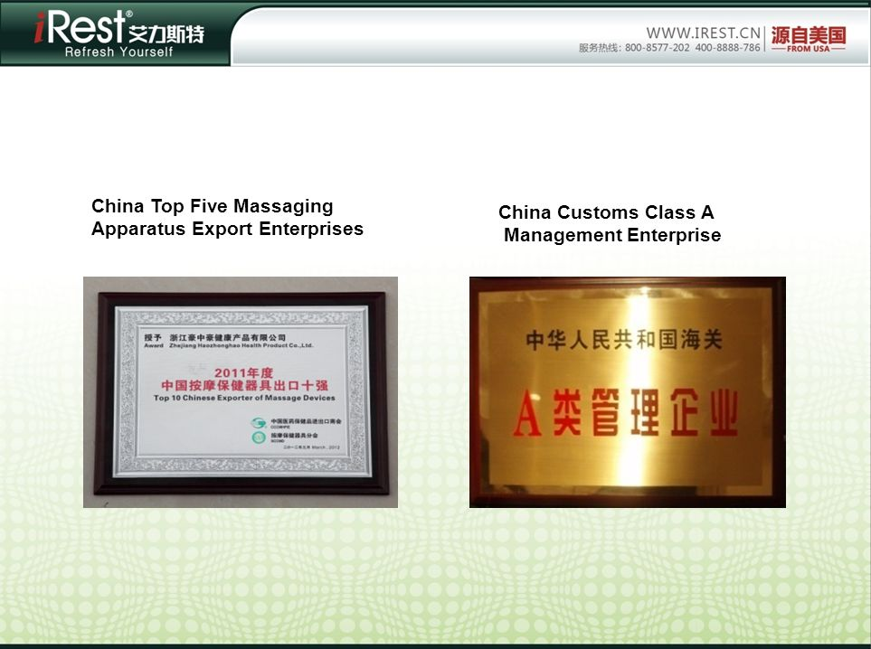 China Top Five Massaging Apparatus Export Enterprises China Customs Class A Management Enterprise