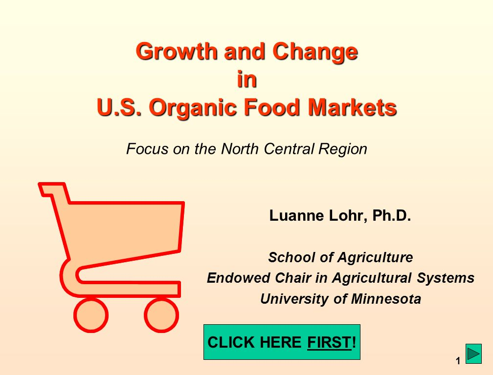 1 Growth and Change in U.S. Organic Food Markets Growth and Change in U.S.