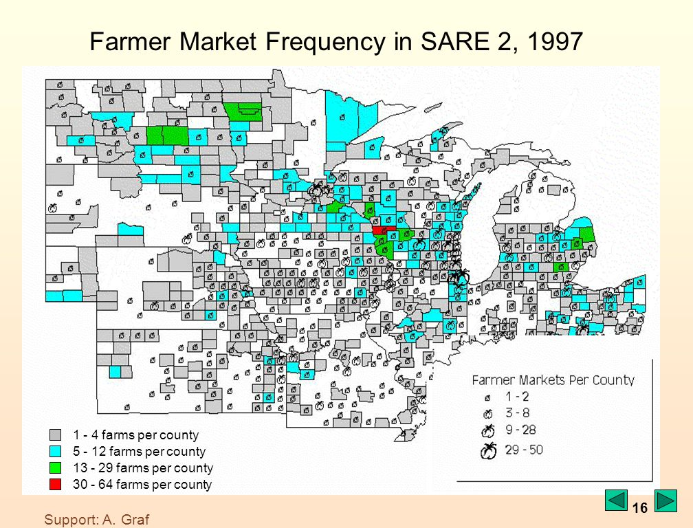 16 1 - 4 farms per county 5 - 12 farms per county 13 - 29 farms per county 30 - 64 farms per county Farmer Market Frequency in SARE 2, 1997 Support: A.