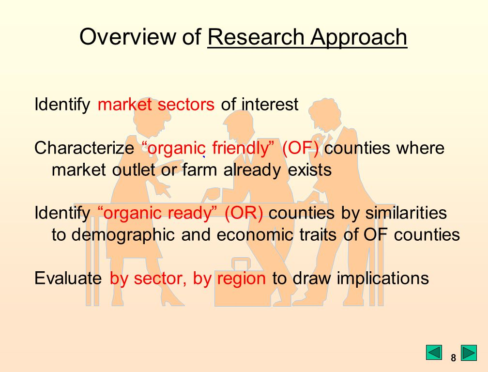 8 Identify market sectors of interest Characterize organic friendly (OF) counties where market outlet or farm already exists Identify organic ready (OR) counties by similarities to demographic and economic traits of OF counties Evaluate by sector, by region to draw implications Overview of Research ApproachResearch Approach