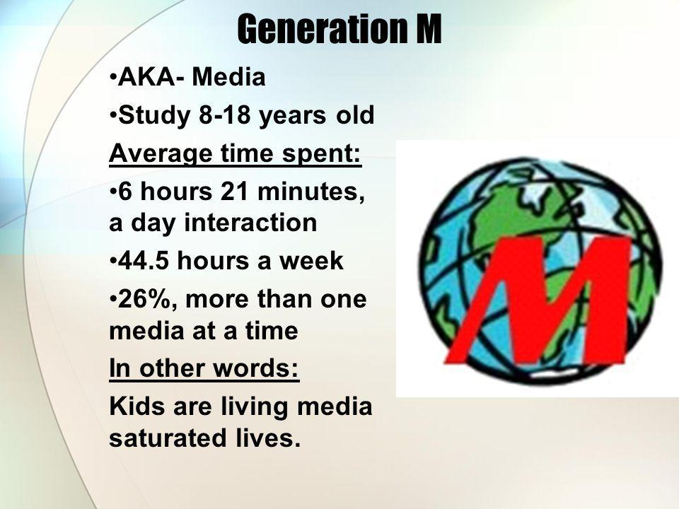 Generation M AKA- Media Study 8-18 years old Average time spent: 6 hours 21 minutes, a day interaction 44.5 hours a week 26%, more than one media at a time In other words: Kids are living media saturated lives.