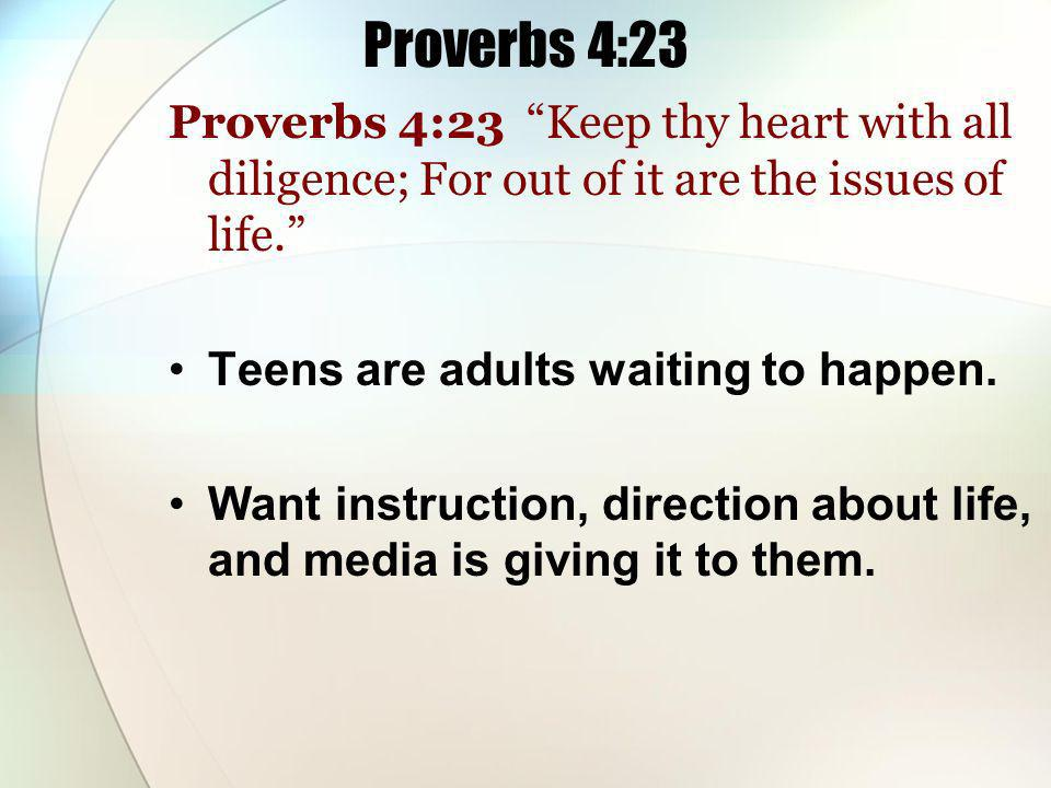 Proverbs 4:23 Proverbs 4:23 Keep thy heart with all diligence; For out of it are the issues of life.