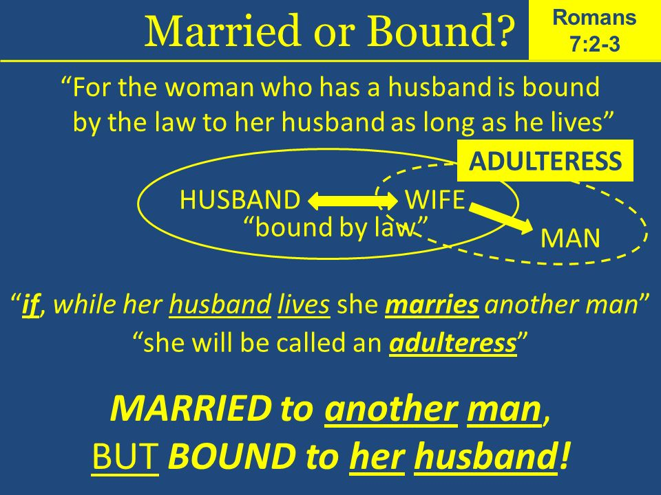 For the woman who has a husband is bound by the law to her husband as long as he lives HUSBANDWIFE bound by law if, while her husband lives she marries another man MARRIED to another man, BUT BOUND to her husband.
