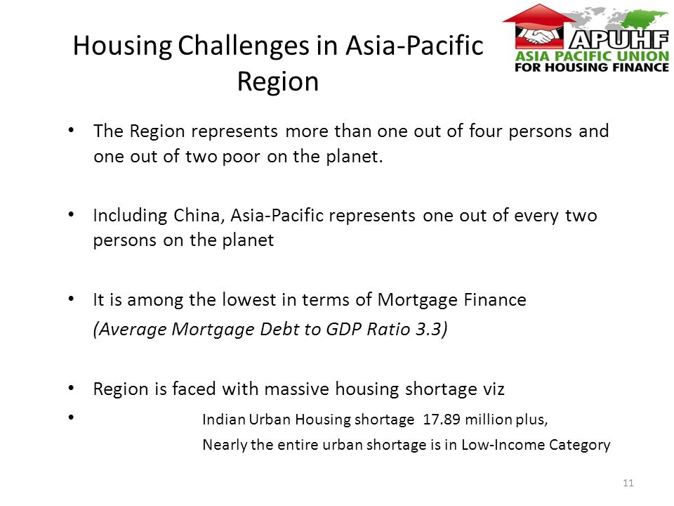 Housing Challenges in Asia-Pacific Region The Region represents more than one out of four persons and one out of two poor on the planet.