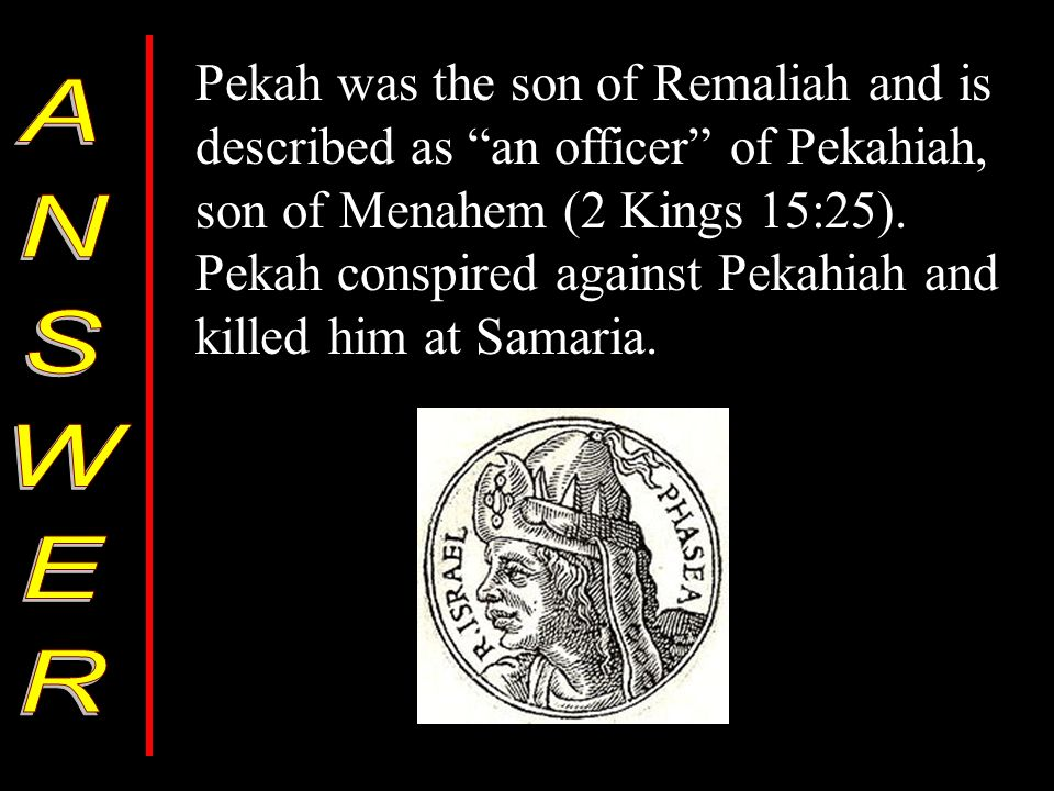 Pekah was the son of Remaliah and is described as an officer of Pekahiah, son of Menahem (2 Kings 15:25).