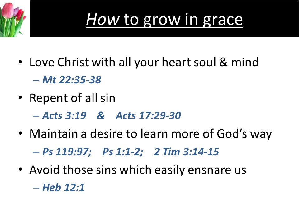 Love Christ with all your heart soul & mind –M–Mt 22:35-38 Repent of all sin –A–Acts 3:19 & Acts 17:29-30 Maintain a desire to learn more of Gods way –P–Ps 119:97; Ps 1:1-2; 2 Tim 3:14-15 Avoid those sins which easily ensnare us –H–Heb 12:1 How to grow in grace
