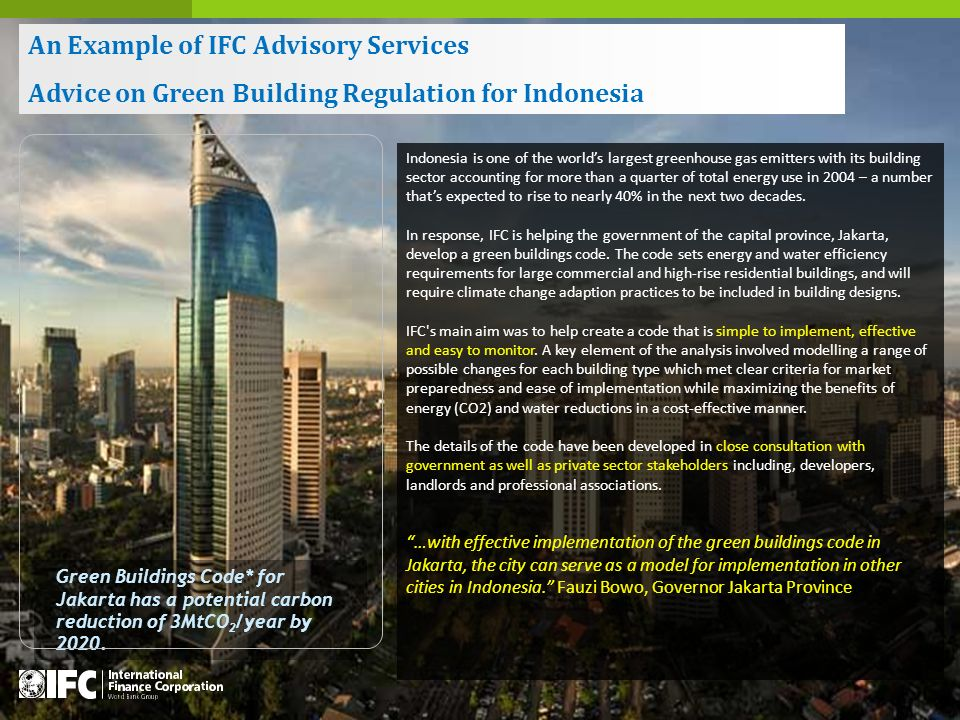 Green Buildings Code* for Jakarta has a potential carbon reduction of 3MtCO 2 /year by 2020.