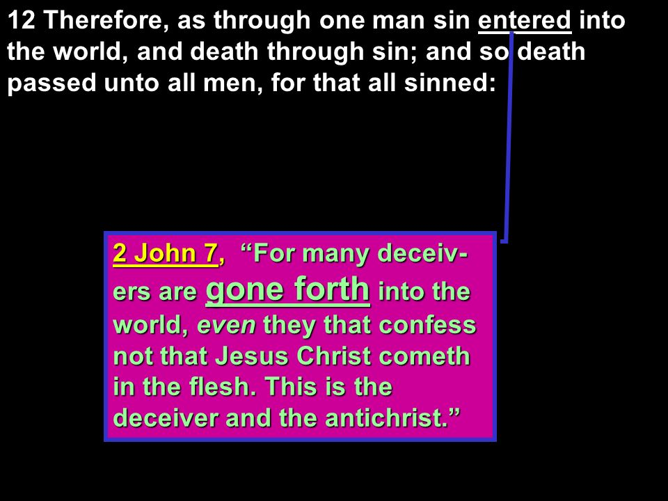 12 Therefore, as through one man sin entered into the world, and death through sin; and so death passed unto all men, for that all sinned: in the manner spoken of…in this manner, in such a manner, thus, so (Thayer, p.