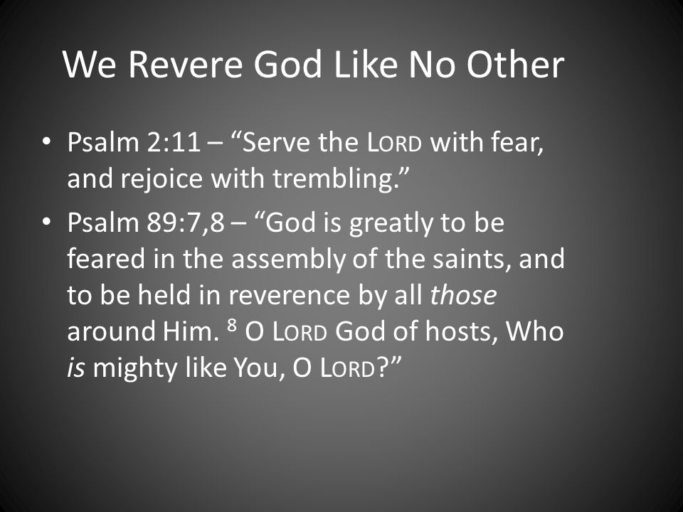 We Revere God Like No Other Psalm 2:11 – Serve the L ORD with fear, and rejoice with trembling.