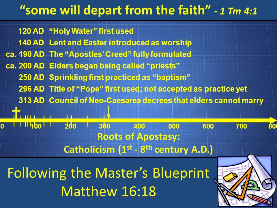 Following the Masters Blueprint Matthew 16:18 some will depart from the faith - 1 Tm 4:1 Roots of Apostasy: Catholicism (1 st - 8 th century A.D.) 0 100200 300 400 500 600 700800 120 ADHoly Water first used 140 ADLent and Easter introduced as worship ca.