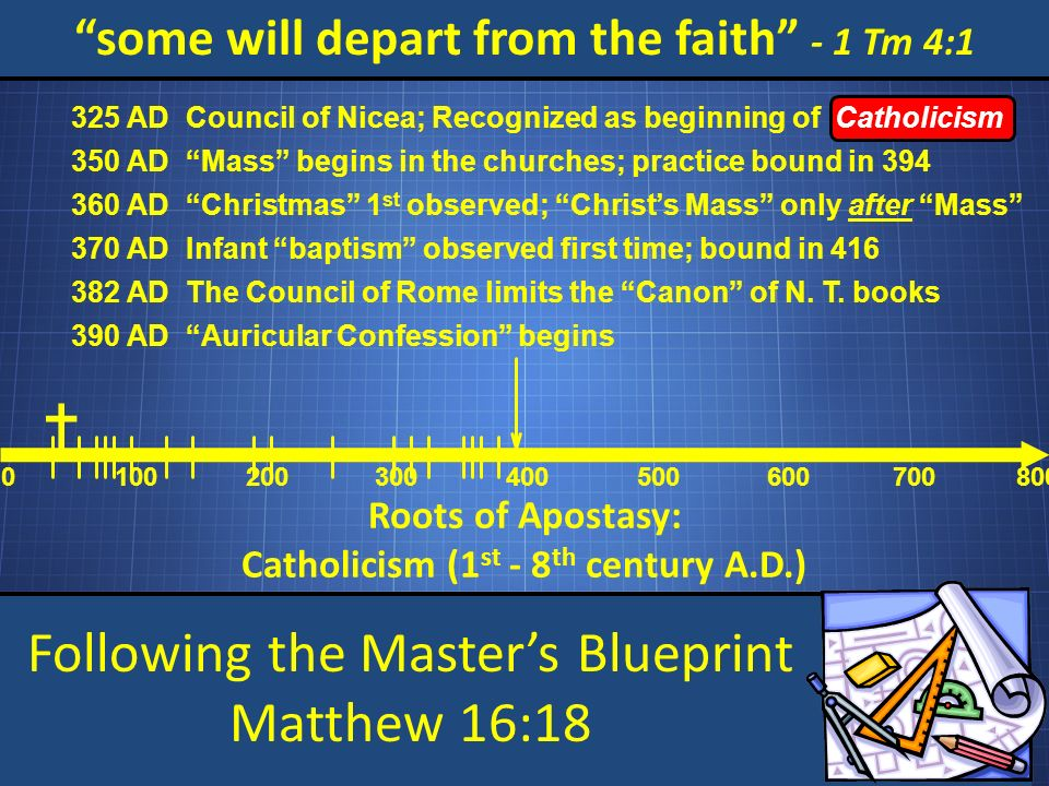 Following the Masters Blueprint Matthew 16:18 some will depart from the faith - 1 Tm 4:1 Roots of Apostasy: Catholicism (1 st - 8 th century A.D.) 0 100200 300 400 500 600 700800 Council of Nicea; Recognized as beginning of Catholicism 325 AD Mass begins in the churches; practice bound in 394 350 AD Christmas 1 st observed; Christs Mass only after Mass 360 AD Infant baptism observed first time; bound in 416 370 AD The Council of Rome limits the Canon of N.