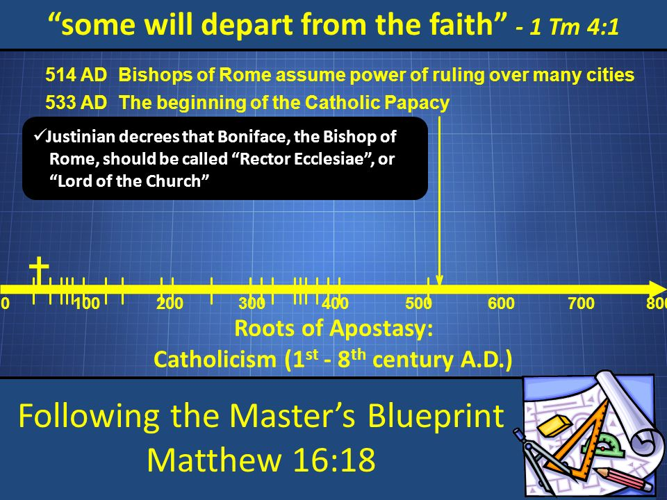 Following the Masters Blueprint Matthew 16:18 some will depart from the faith - 1 Tm 4:1 Roots of Apostasy: Catholicism (1 st - 8 th century A.D.) 0 100200 300 400 500 600 700800 Bishops of Rome assume power of ruling over many cities 514 AD The beginning of the Catholic Papacy 533 AD Justinian decrees that Boniface, the Bishop of Rome, should be called Rector Ecclesiae, or Lord of the Church
