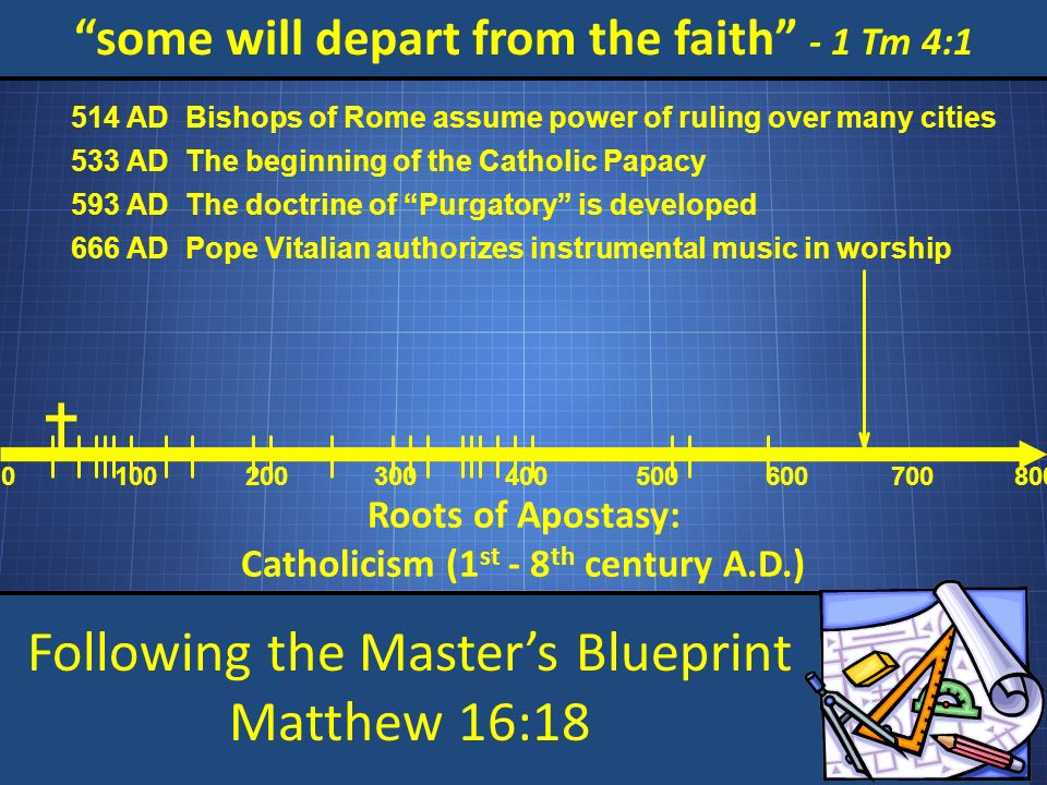 Following the Masters Blueprint Matthew 16:18 some will depart from the faith - 1 Tm 4:1 Roots of Apostasy: Catholicism (1 st - 8 th century A.D.) 0 100200 300 400 500 600 700800 Bishops of Rome assume power of ruling over many cities 514 AD The beginning of the Catholic Papacy 533 AD The doctrine of Purgatory is developed 593 AD Pope Vitalian authorizes instrumental music in worship 666 AD