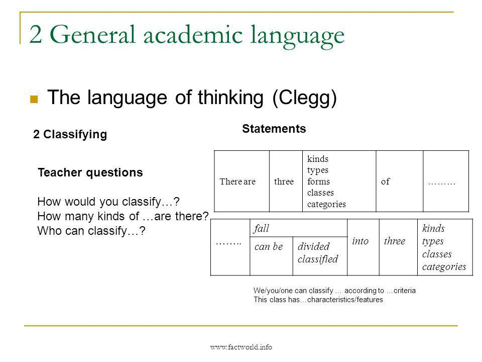 www.factworld.info 2 General academic language The language of thinking (Clegg) 2 Classifying Statements There arethree kinds types forms classes categories of ……… ……..