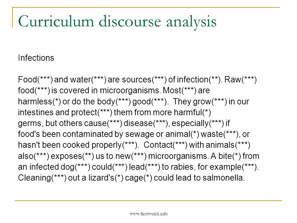 www.factworld.info Curriculum discourse analysis Infections Food(***) and water(***) are sources(***) of infection(**).