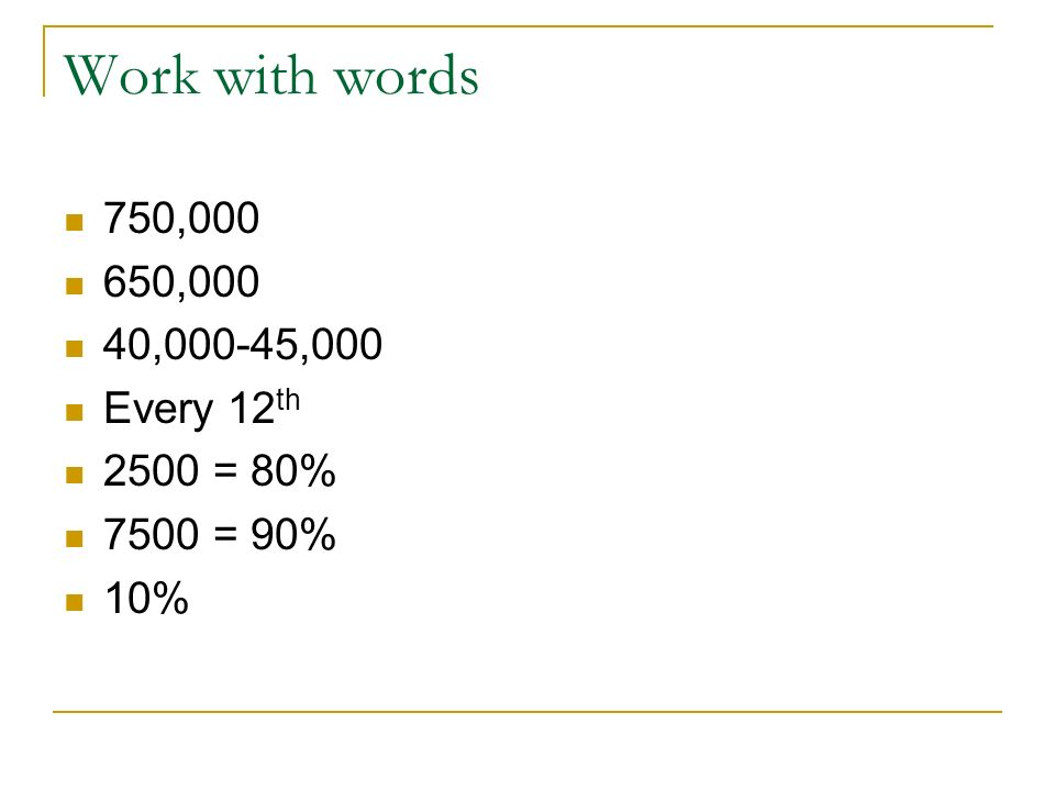 Work with words 750,000 650,000 40,000-45,000 Every 12 th 2500 = 80% 7500 = 90% 10%
