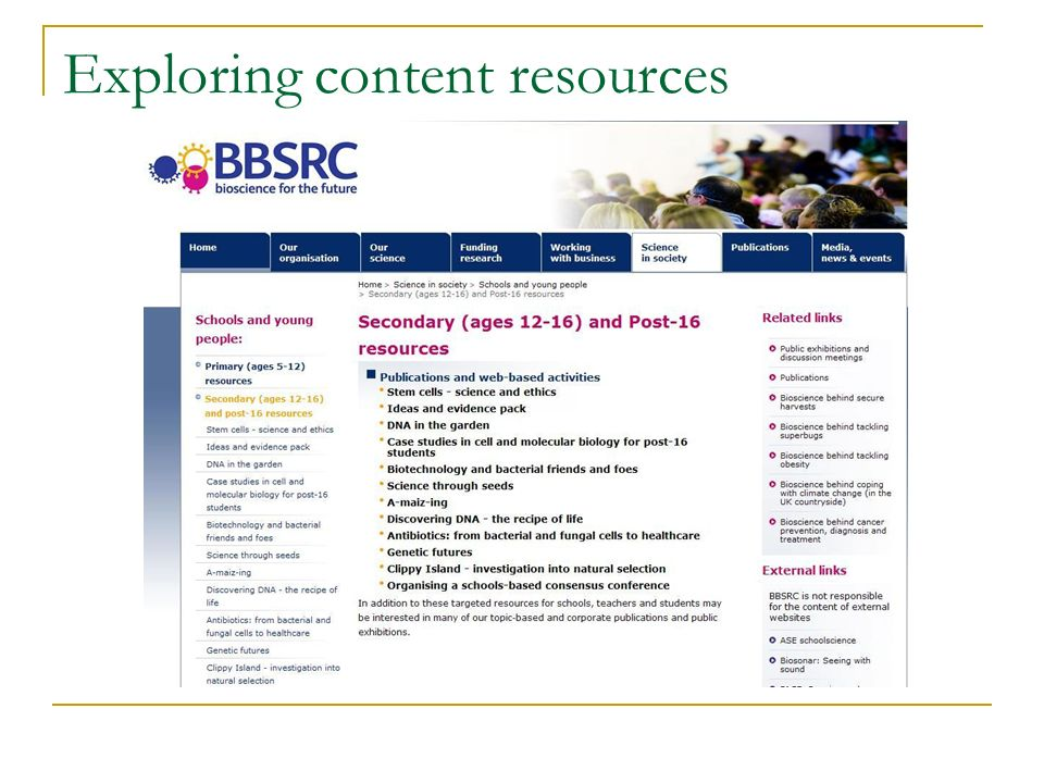 Exploring content resources