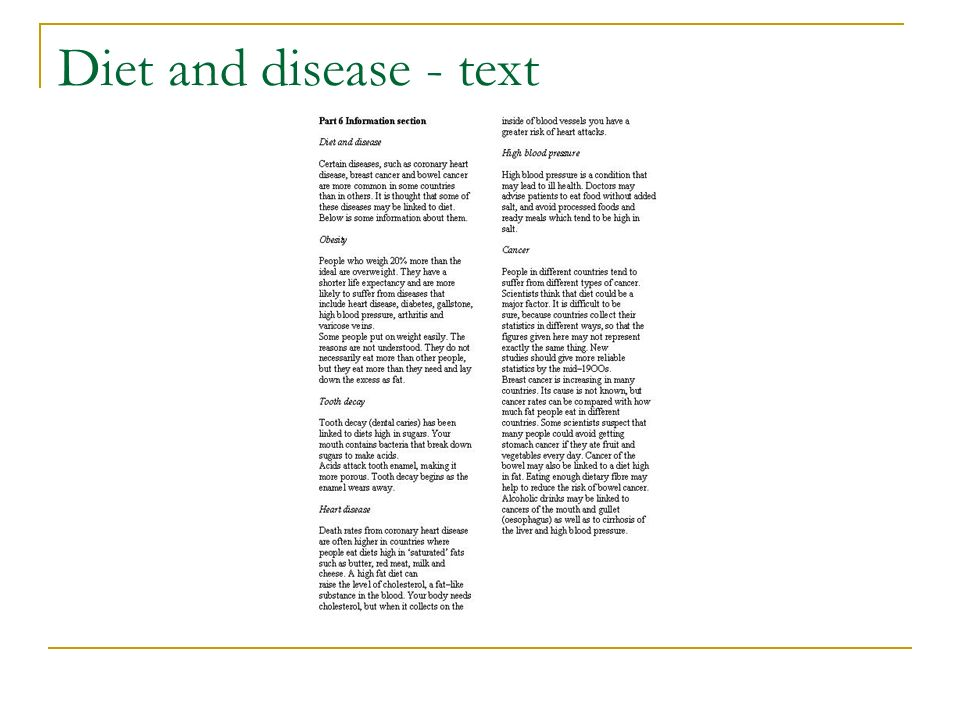 Diet and disease - text