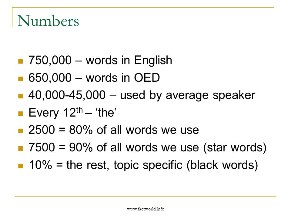 www.factworld.info Numbers 750,000 – words in English 650,000 – words in OED 40,000-45,000 – used by average speaker Every 12 th – the 2500 = 80% of all words we use 7500 = 90% of all words we use (star words) 10% = the rest, topic specific (black words)
