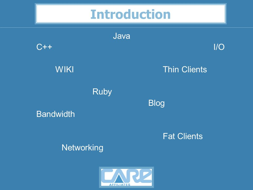 Introduction Java C++I/O WIKIThin Clients Ruby Blog Bandwidth Fat Clients Networking