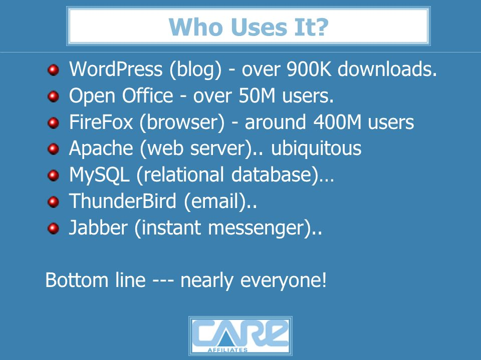 Who Uses It. WordPress (blog) - over 900K downloads.