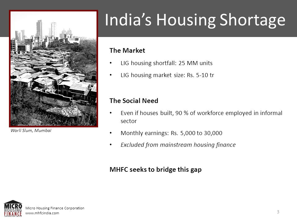 Micro Housing Finance Corporation www.mhfcindia.com Indias Housing Shortage The Market LIG housing shortfall: 25 MM units LIG housing market size: Rs.