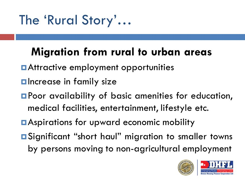 The Rural Story… Migration from rural to urban areas Attractive employment opportunities Increase in family size Poor availability of basic amenities for education, medical facilities, entertainment, lifestyle etc.