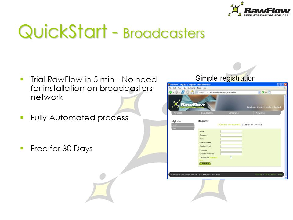 QuickStart - Broadcasters Trial RawFlow in 5 min - No need for installation on broadcasters network Fully Automated process Free for 30 Days Simple registration