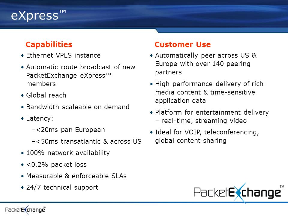eXpress Capabilities Customer Use Ethernet VPLS instance Automatic route broadcast of new PacketExchange eXpress members Global reach Bandwidth scaleable on demand Latency: –<20ms pan European –<50ms transatlantic & across US 100% network availability <0.2% packet loss Measurable & enforceable SLAs 24/7 technical support Automatically peer across US & Europe with over 140 peering partners High-performance delivery of rich- media content & time-sensitive application data Platform for entertainment delivery – real-time, streaming video Ideal for VOIP, teleconferencing, global content sharing