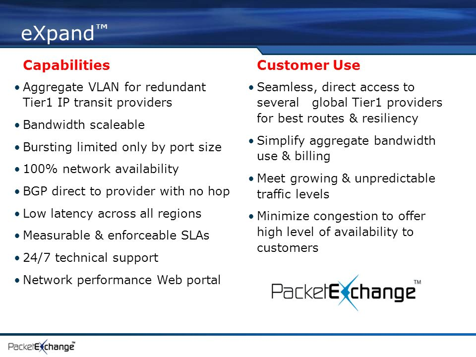eXpand Capabilities Customer Use Aggregate VLAN for redundant Tier1 IP transit providers Bandwidth scaleable Bursting limited only by port size 100% network availability BGP direct to provider with no hop Low latency across all regions Measurable & enforceable SLAs 24/7 technical support Network performance Web portal Seamless, direct access to several global Tier1 providers for best routes & resiliency Simplify aggregate bandwidth use & billing Meet growing & unpredictable traffic levels Minimize congestion to offer high level of availability to customers