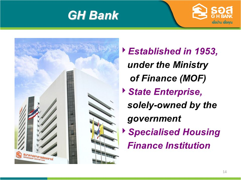 14 GH Bank Established in 1953, under the Ministry of Finance (MOF) State Enterprise, solely-owned by the government Specialised Housing Finance Institution
