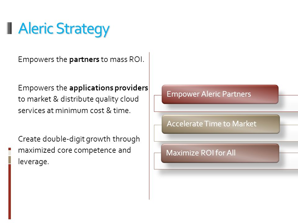Aleric Strategy Empowers the partners to mass ROI.