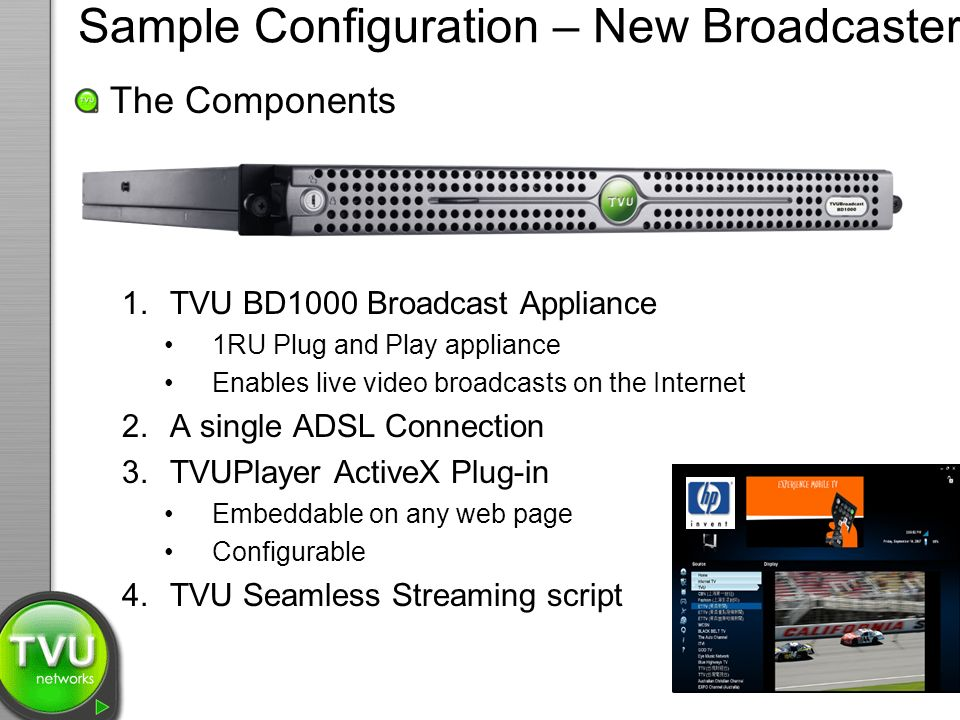 The Components 1.TVU BD1000 Broadcast Appliance 1RU Plug and Play appliance Enables live video broadcasts on the Internet 2.A single ADSL Connection 3.TVUPlayer ActiveX Plug-in Embeddable on any web page Configurable 4.TVU Seamless Streaming script Sample Configuration – New Broadcaster