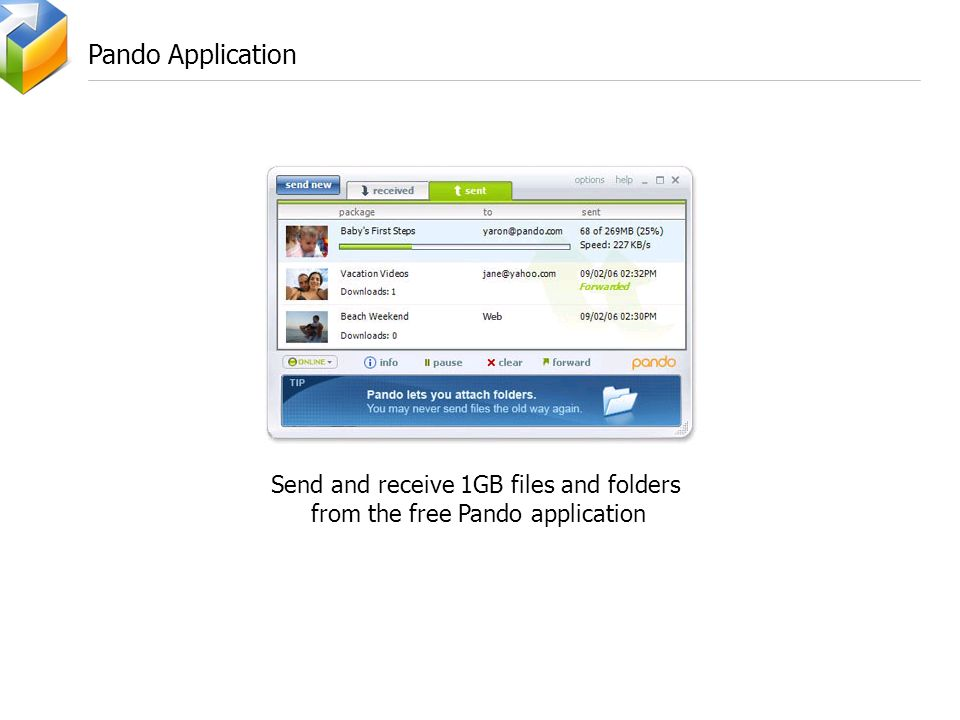 Pando Application Send and receive 1GB files and folders from the free Pando application