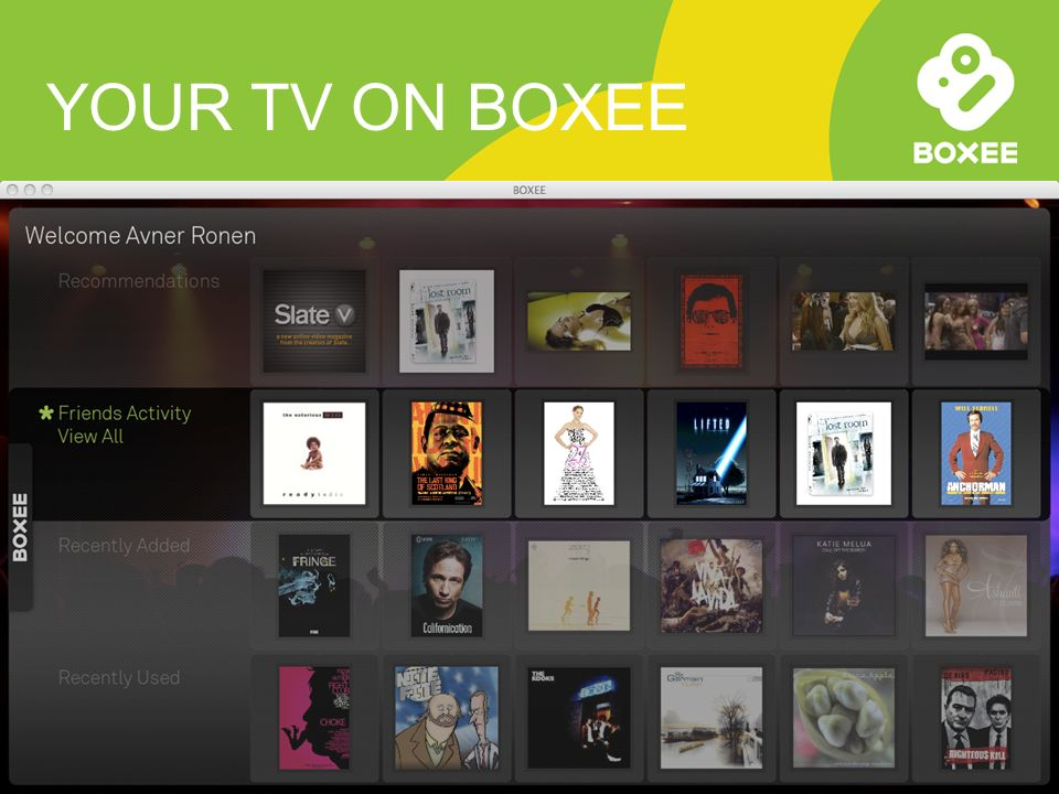 YOUR TV ON BOXEE