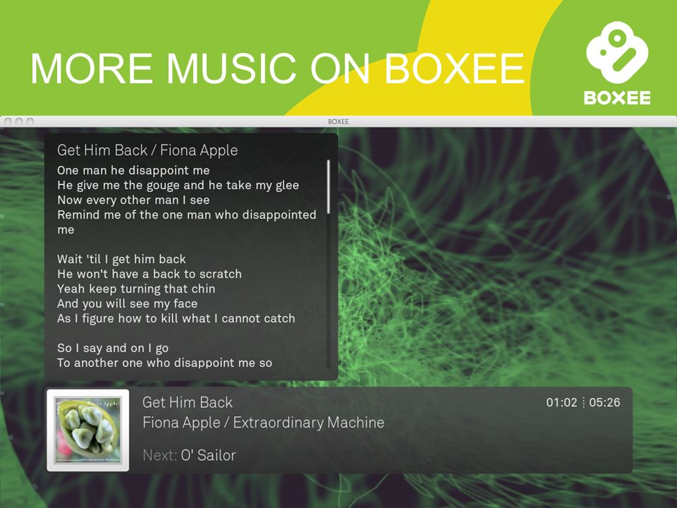 MORE MUSIC ON BOXEE