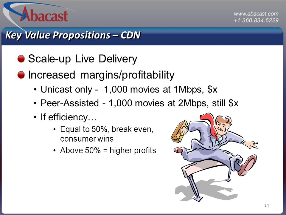 14 Key Value Propositions – CDN Scale-up Live Delivery Increased margins/profitability Unicast only - 1,000 movies at 1Mbps, $x Peer-Assisted - 1,000 movies at 2Mbps, still $x If efficiency… Equal to 50%, break even, consumer wins Above 50% = higher profits