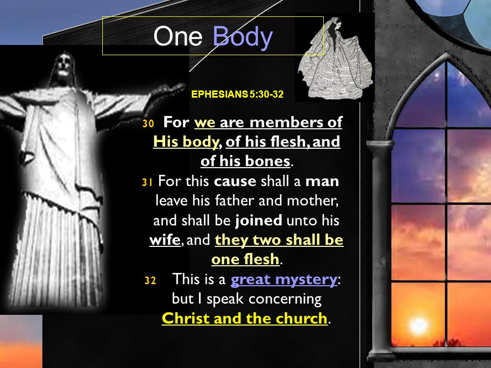 EPHESIANS 5:30-32 30 For we are members of His body, of his flesh, and of his bones.