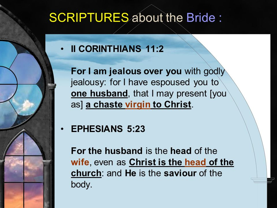 II CORINTHIANS 11:2 For I am jealous over you with godly jealousy: for I have espoused you to one husband, that I may present [you as] a chaste virgin to Christ.