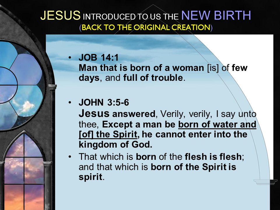 JESUS INTRODUCED TO US THE NEW BIRTH (BACK TO THE ORIGINAL CREATION) JOB 14:1 Man that is born of a woman [is] of few days, and full of trouble.