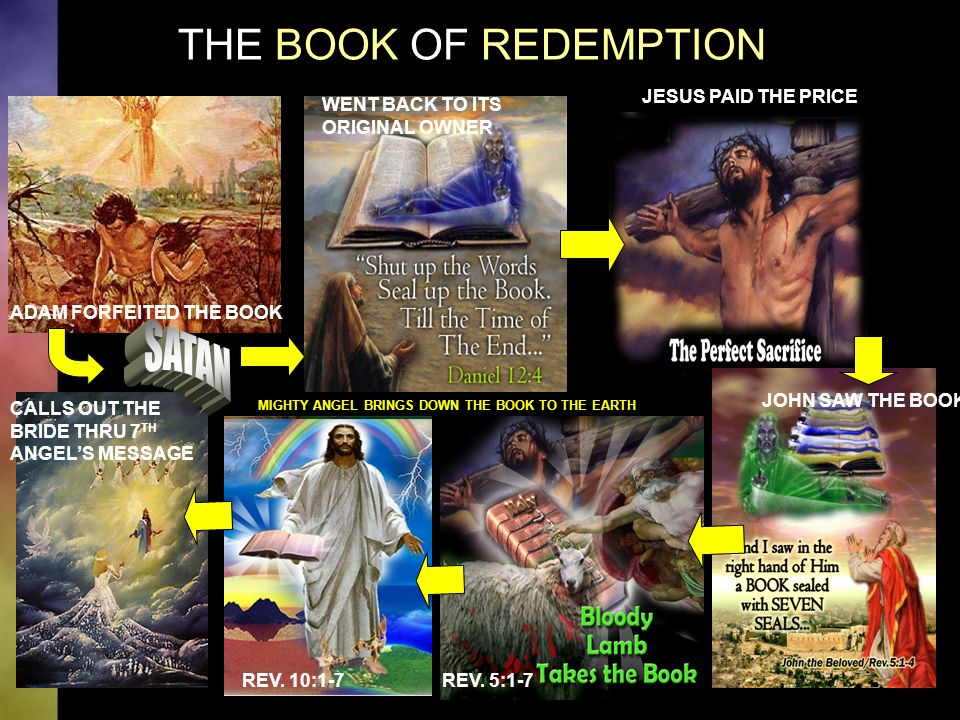 THE BOOK OF REDEMPTION ADAM FORFEITED THE BOOK WENT BACK TO ITS ORIGINAL OWNER JESUS PAID THE PRICE JOHN SAW THE BOOK REV.