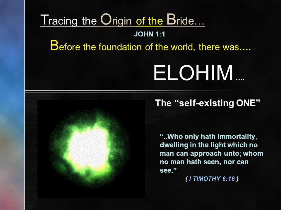 T racing the O rigin of the B ride… JOHN 1:1 B efore the foundation of the world, there was….