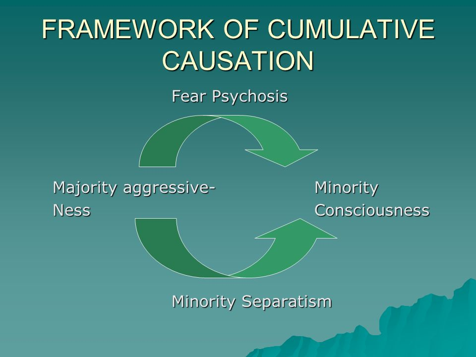 FRAMEWORK OF CUMULATIVE CAUSATION Fear Psychosis Majority aggressive-Minority NessConsciousness Minority Separatism